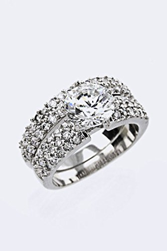 Karmas Canvas CZ Double Ring (Clear) (Verragio Prices Ring Engagement)