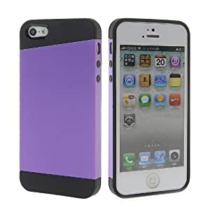 SHOPPINGBOX Hybrid Soft Gel Silicone Skin And Rubberized Back Case Cover For Apple iPhone 5 5G 5S Black Purple