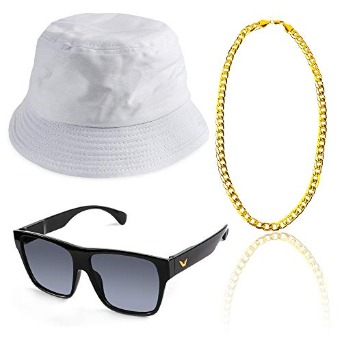 Beelittle 80s/90s Hip Hop Costume Kit Old Style Cool Rapper Outfits - Bucket Hat Oversized Black Sunglasses Gold Plated Chain -
