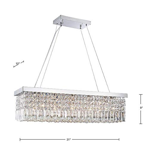 47e852b7fa05 Saint Mossi Modern K9 Crystal Rectangle Raindrop Chandelier Lighting Flush  Mount LED Ceiling Light Fixture Pendant Lamp for Dining Room Bathroom  Bedroom ...