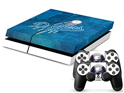 MightySticker® PS4 Designer Skin Game Console System plus 2 Controller Decal Vinyl Protective Covers Stickers f Sony PlayStation 4 - MLB LA Los Angeles Dodgers Flag Logo Baseball Sports Fan