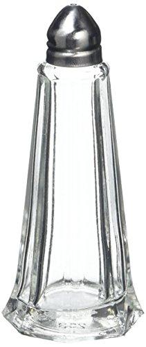 Genware Glass Lighthouse Salt Shaker (Silver Top)