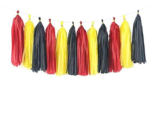 3 Pack 15 Pcs 14 inch Mickey Mouse Color Party Supplies Yellow Black Red Tissue Paper Tassels Garland Fringe Bunting Backdrop Wedding Birthday Decoration Event Party Supplies