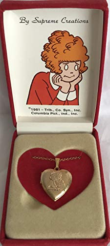 Doll Face Necklace - Little Orphan Annie HEART LOCKET Pendant Necklace LARGE SIZE Approx. 7/8