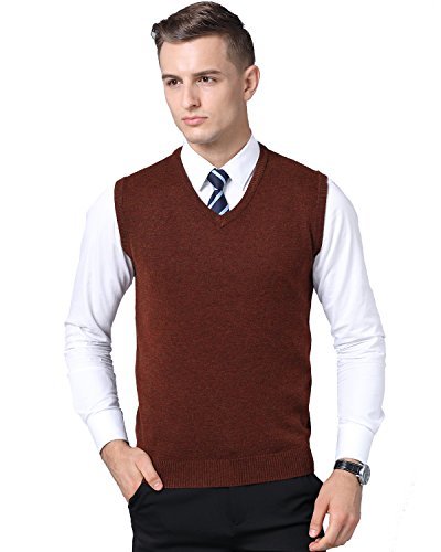 Kinlonsair Mens Casual Slim Fit Solid Lightweight V-Neck Sweater Vest (Small (US), Brown)