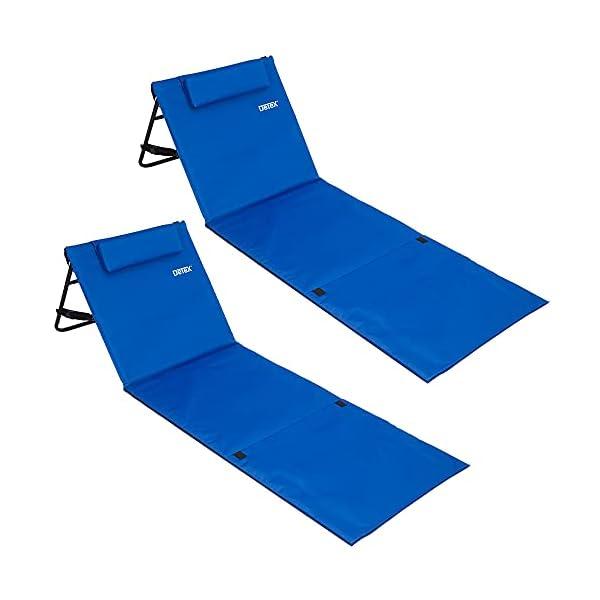 41RVG2ZJ6DS Deuba 2X Strandmatte Faltbar Gepolstert Kissen verstellbare Rückenlehne Staufach Badematte Isomatte Strandtuch Blau