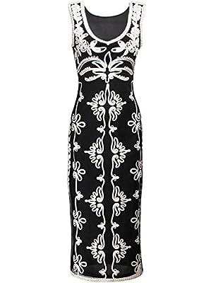 Vijiv 1920s Vintage Black White Tapework V Neck Art Deco Evening Party Dress