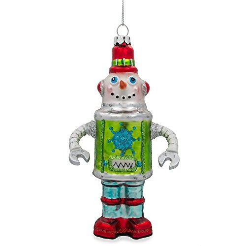 (BestPysanky Robot Snowman Blown Glass Christmas Ornament 5.75 Inches)