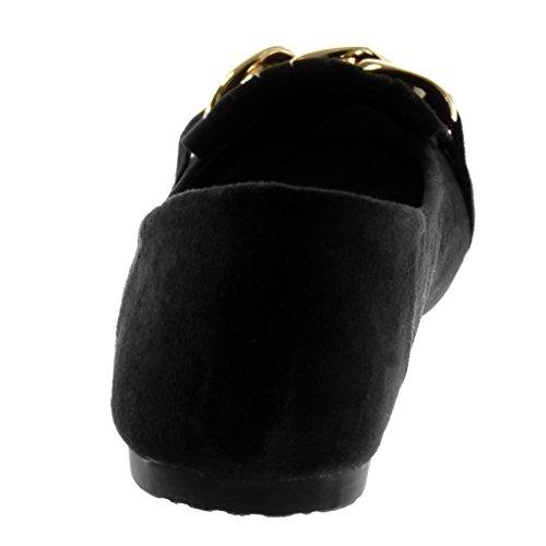 Angkorly Zapatillas Moda Bailarinas Slip-On Mujer Cadena Fleco Dorado Tacón Ancho 1 cm Negro