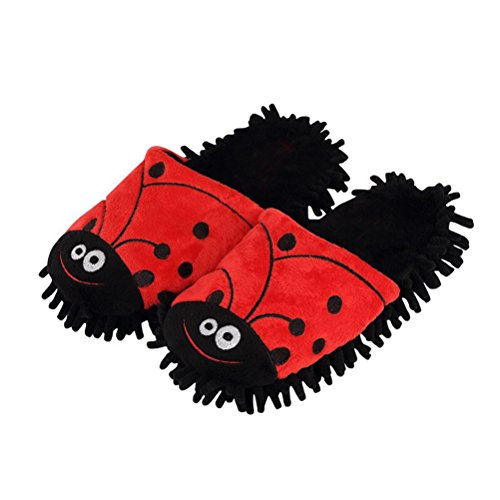 YUTIANHOME Ladies Womens Animal Slippers Washable Soft Warm Non-Slip Flat Closed Toe Indoor Home Bedroom Shoes Ladybird tfZikkJ