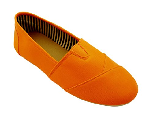 Sarah Great Neon Orange Canvas Summer Day Fashion Accessories Round Toe Kung Fu Slip On Laceless Sofft Camping Gear Tenis Sneakers Camper Foam Shoes Supplies for Women Teen Girl Kid (Size 6.5, Orange)