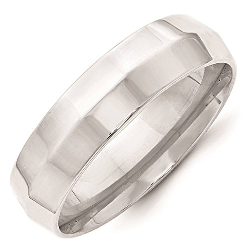 10k White Gold 6mm Knife Edge Comfort Fit Wedding Ring Band Size 14 ()