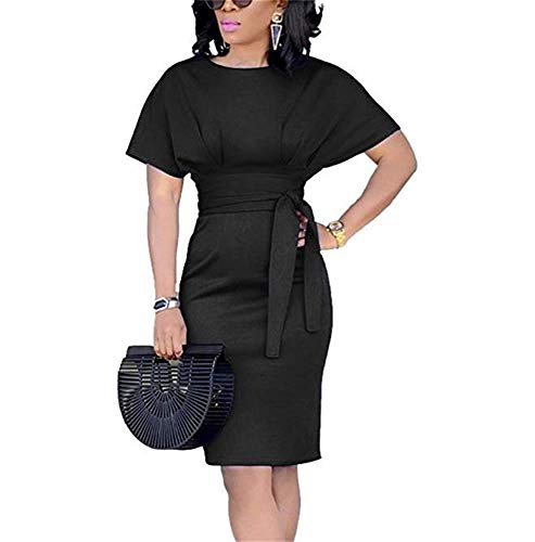 fb094deaf6af Jeanewpole1 Womens Bodycon Midi Dresses Short Sleeve Tie Waist Business  Pencil Dresses