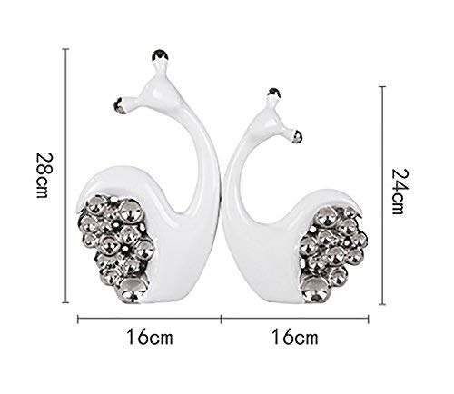 Decoration White Ceramic Snails Ornaments 2 Pieces - Creative Living Room Silver Plated Resin Decorations Crafts Decoration