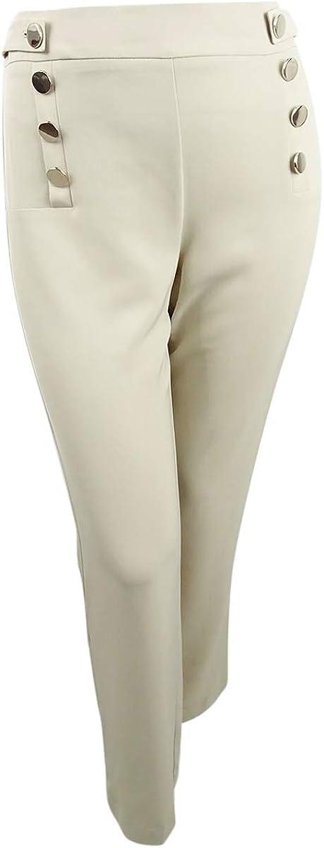 Calvin Klein Women's Jumbo-Button Wide-Leg Pants (12 ,  Latte)