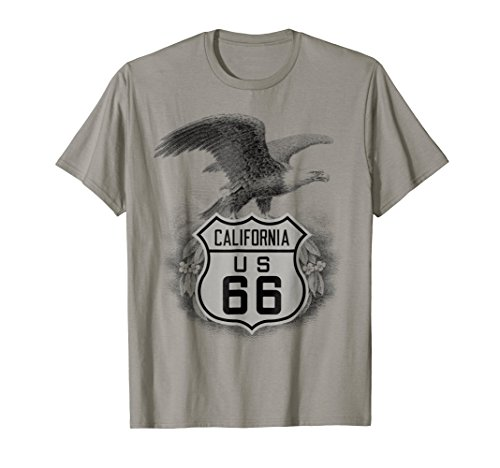 California Road Trip Route 66 Highway Shield & Eagle T-Shirt