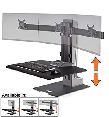 Stand Steady Winston Workstation Triple Monitor Mount Sit-Stand Desk (Innovative WNST-3) | Three Monitor Standing Desk Workstation Converter with VESA Mount