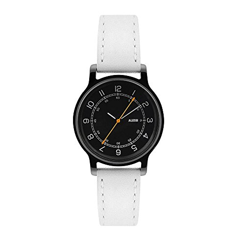 Price comparison product image Alessi Al28022 L'orologio Wrist Watch Stainless Steel Black 32mm with White Leather Band