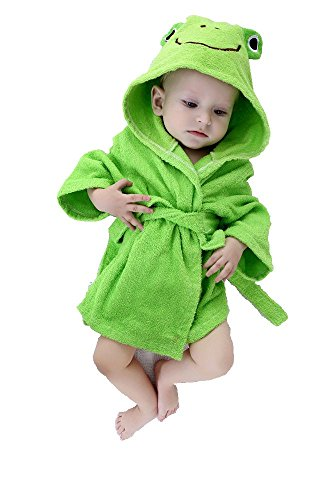 Baby Robe Towel Frog Green Hooded Bathrobe Infant Toddler -