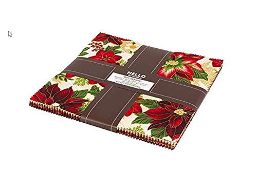 Peggy Toole Holiday Flourish Holiday Metallic Ten Squares 10-inch Precut Cotton Fabric Quilting Assortment Layer Cake Robert Kaufman TEN-608-42 (Quilt Cotton Holidays Fabric)