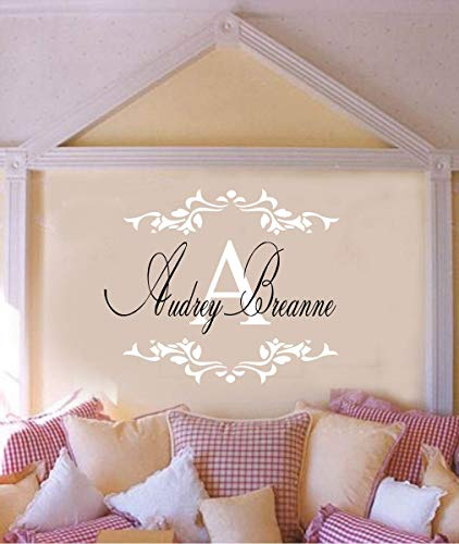 Monogram Font Frame - Teisyouhu Art Mural Wall Sticker Elegant Font Girls Name with Initial Monogram and Fancy Scroll Frame Quote Lettering Home Decoration
