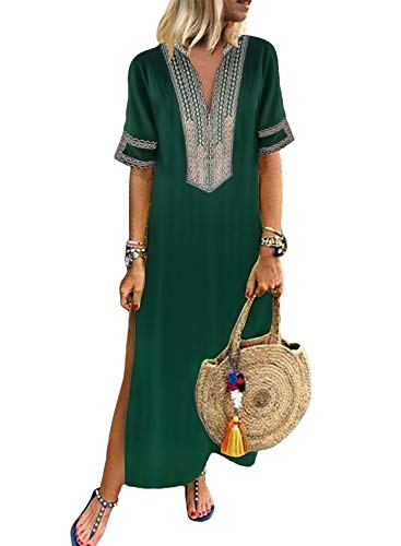 Dokotoo Womens Ladies Bohemian Holiday Summer Casual Dress Short Sleeve V Neck Fashion Solid Crochet Embroidered Slit Maxi Long Dress Green Small