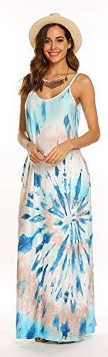 (Women's Summer Beach Sleeveless Tie Dye Loose Casual Maxi Long Dress(Z-Blue,L))