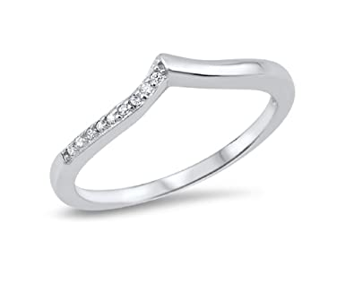 a1a0cc8590df64 Amazon.com: Clear Cubic Zirconia Pointed Ring 925 Sterling Silver ...