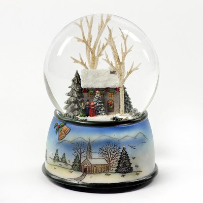 Winter Cottage with Carolers Snow Globe The San Francisco Music Box Company