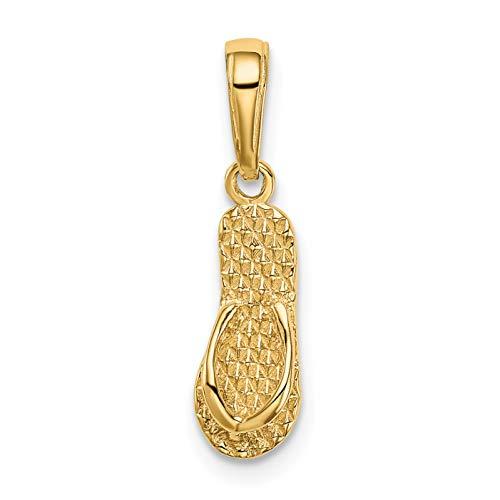 Diamond2Deal 14k Yellow Gold 3-D Hawaii Flip-Flop Pendant