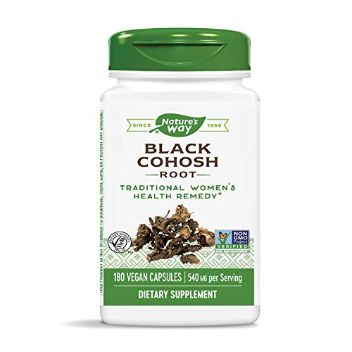 Nature's Way Black Cohosh; 540 mg per serving; Non-GMO Project Verified; Gluten Free; Vegetarian; 180 Vegetarian Capsules
