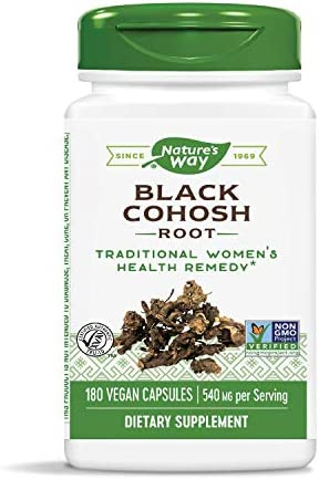 Nature's Way Black Cohosh Root, 540 mg according to serving, Non-GMO, Gluten Free, 180 Capsules