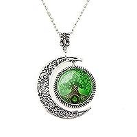 Colgante de la luna Collar celta del árbol de la vida Joyería del árbol de los deseos Collar del árbol Joyería art déco Regalos