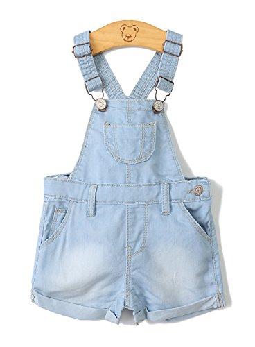 Baby Girls/Boys Big Bibs Raw Edge Light Blue Summer Jeans Shortalls,Light Blue,2-3 Years by Kidscool