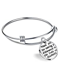 Teacher Gift Expandable Bangle Bracelet Thank You for Making a Difference in The Lives of Students Unisex