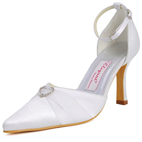 Wedding White Bridal Satin Women ElegantPark Shoes Pumps High Pointed Strap Buckle Ankle Toe A560 Heel 7vv1P6A
