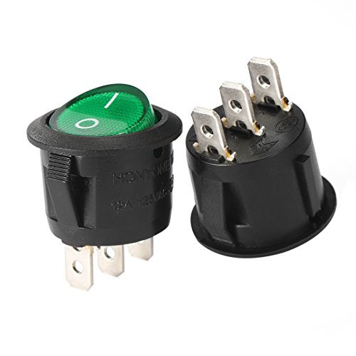 uxcell Green Lamp Illuminated 3 Terminal SPST 2 Position I/O On/Off Button Toggle Round Rocker Switch AC 250V/10A 125V/12A