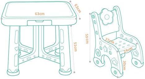 学習机セット 子供用 デスクスタディーデスク多機能 大容量 キッズプレイルームテーブルと椅子セットの活動キッズ表は、読書の描画用の2つの椅子を設定します。 多機能 安心安全設計 子供部屋 (色 : 青, サイズ : 63x51/59x27cm)