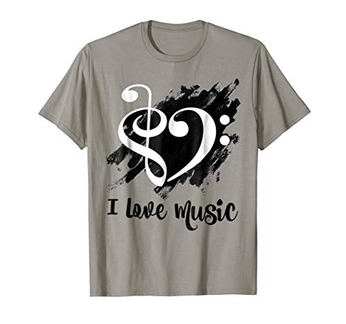 Treble Clef + Bass Clef Musical Heart Grunge I Love Music White Notes Bassist T-Shirt