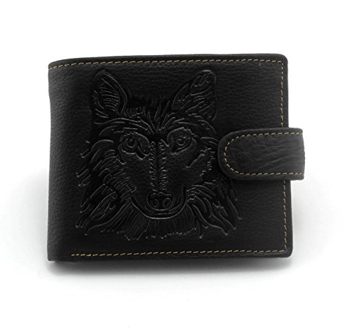 Men's Cool Eagle Wolf Totem Cowhide Vertical Wallet Zipper Multi-card Cardholder … (Wolf Totem C1)