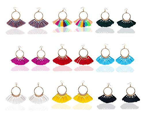 9 Pairs Tassel Hoop Earrings for Women Colorful Fan Shape Drop Earrings Statement Earrings for Women Girls Daily Wear Fashion Jewelry Valentine Birthday Christmas - Jewelry Daily