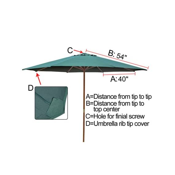 Green 9ft Outdoor Patio Umbrella Replacement Top Canopy - Brand New Umbrella Replacement Cover with UV protective Canopy for 9-foot 8 ribs Market Umbrella Replacement Water resistant canopy for outdoor scenery & breeze enjoyment even when drizzling - shades-parasols, patio-furniture, patio - 41RVLgdxpAL. SS570  -