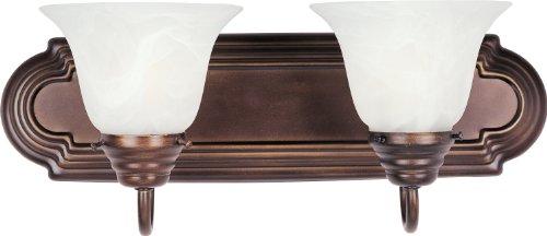 Maxim 85812mroi Essentials EE 2-Light cambiador de baño Aplique de pared, acabado en bronce aceitado, mármol, vidrio,,...
