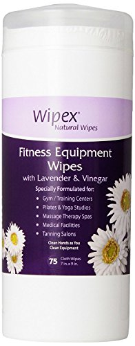 Wipex Natural Gym & Fitness Equipment Wipes for Personal Use, Lavender & Vinegar - Great for Yoga, Pilates & Dance Studios, Home Gym, Peloton Bike Wipes, Sports, Spas and more (1 Canister of 75 wipes)