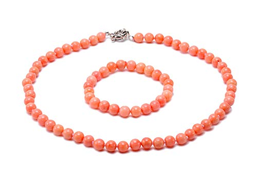 JYX Pearl Coral Necklace Set 8mm Pink Coral Necklace Bracelet Set (Pink Necklace Real Bracelet Pearl)
