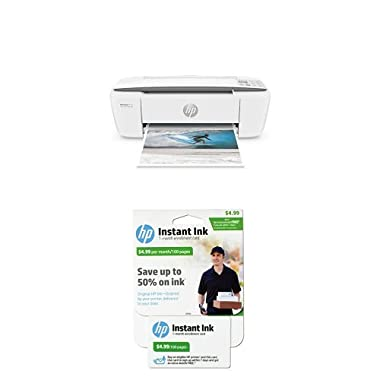 HP DeskJet 3755 Compact All-in-One Photo Printer with 100-page Instant Ink Bundle