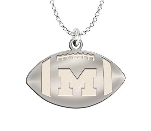 (University of Michigan Wolverines Football Charm Sterling Silver Natural Finish)