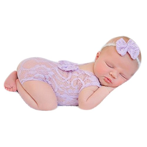 Baby Photography Props Newborn Girl Photo Shoot Outfits Infant Costume Lace Headdress Rompers (Purple) -