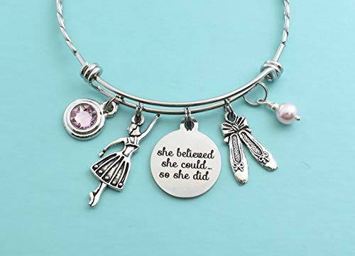 Teen's or Women's Ballet Dancer Bracelet in silver. She Believed She Could So She Did. Ballerina. Bangle Bracelet with Charms