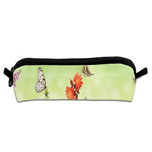 Pencil Bag Spring, Flowers, Grass, Butterfly Marvellous School Pouch Zippered Cosmetic Bags Holder for Student
